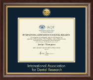 International Association of Dental Research Certificate Frame - Gold Engraved Medallion Certificate Frame in Hampshire
