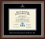 Dental Assisting National Board, Inc. Certificate Frame - Silver Embossed Certificate Frame in Devonshire