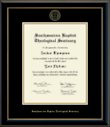 Southwestern Baptist Theological Seminary Diploma Frame - Gold Embossed Diploma Frame in Onyx Gold