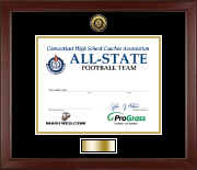 Connecticut High School Coaches Association Certificate Frame - Gold Engraved Medallion Certificate Frame in Sierra