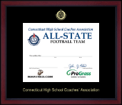 Connecticut High School Coaches Association Certificate Frame - Embossed Achievement Certificate Frame in Academy