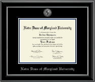Notre Dame of Maryland University  Diploma Frame - Silver Engraved Medallion Diploma Frame in Onyx Silver