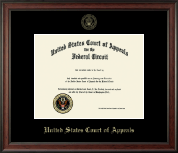 The United States Court of Appeals Certificate Frame - Gold Embossed Certificate Frame in Studio
