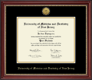 University of Medicine and Dentistry of New Jersey Diploma Frame - Gold Engraved Medallion Diploma Frame in Kensington Gold
