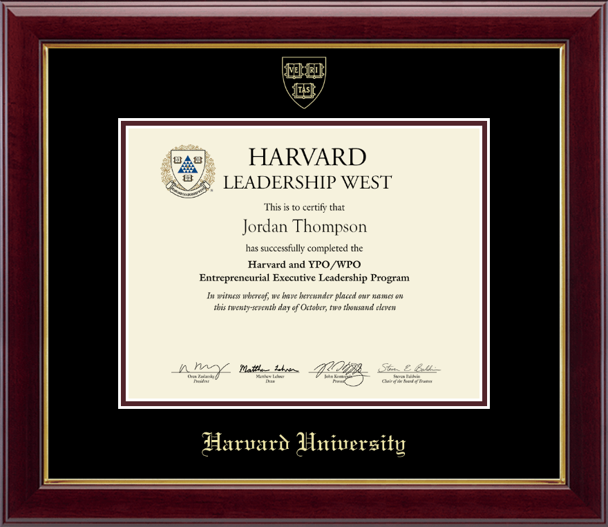 Harvard University Gold Embossed Certificate Frame In
