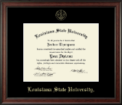 Louisiana State University Diploma Frame - Gold Embossed Diploma Frame in Studio