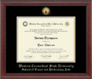 Western Connecticut State University Diploma Frame - Gold Engraved Medallion Diploma Frame in Signature