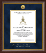 National Association of Insurance and Financial Advisors Certificate Frame - Gold Engraved Medallion Certificate Frame in Prescott