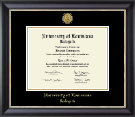 University of Louisiana Lafayette Diploma Frame - Gold Engraved Medallion Diploma Frame in Noir