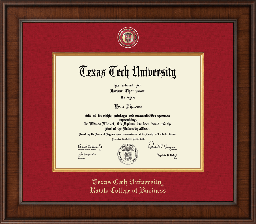 Texas Tech University Presidential Masterpiece Diploma Frame in ...