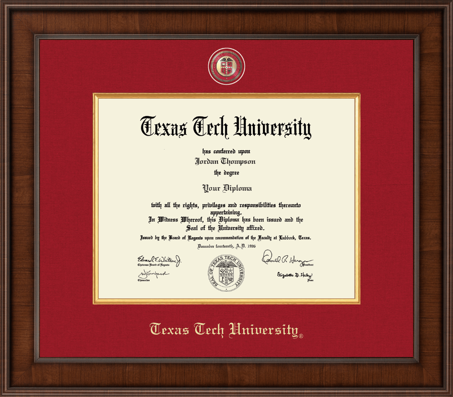 Texas Tech University Diploma Frame