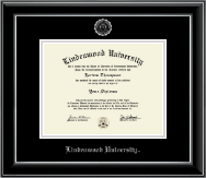 Lindenwood University Diploma Frame - Silver Embossed Diploma Frame in Onyx Silver