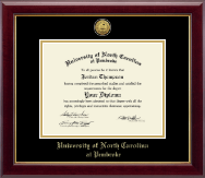 University of North Carolina at Pembroke Diploma Frame - Gold Engraved Medallion Diploma Frame in Gallery
