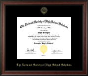 The National Society of High School Scholars Certificate Frame - Gold Embossed Certificate Frame in Studio