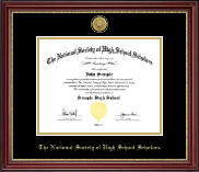 The National Society of High School Scholars Certificate Frame - Gold Engraved Medallion Certificate Frame in Kensington Gold