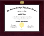 The National Society of High School Scholars Certificate Frame - Century Gold Engraved Certificate Frame in Cordova