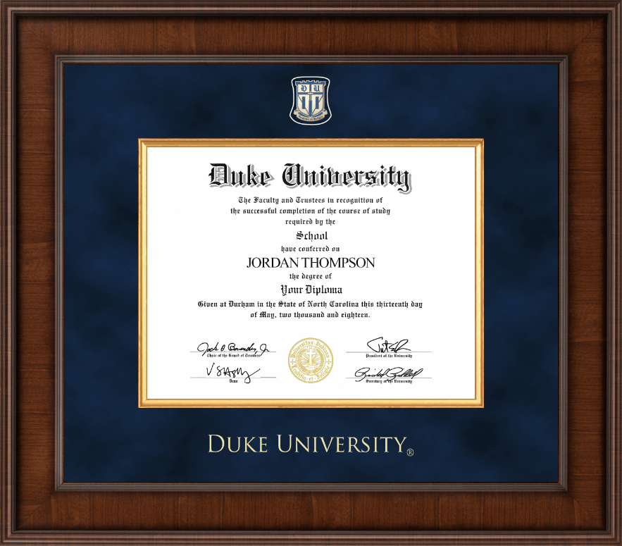 duke university presidential masterpiece diploma frame in