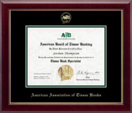 American Association of Tissue Banks Certificate Frame - Gold Embossed Certificate Frame in Gallery