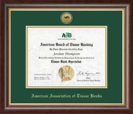 American Association of Tissue Banks Certificate Frame - Gold Engraved Medallion Frame in Hampshire