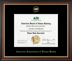 American Association of Tissue Banks Certificate Frame - Gold Embossed Certificate Frame in Studio Gold