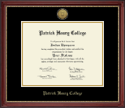 Patrick Henry College Diploma Frame - Gold Engraved Medallion Diploma Frame in Kensington Gold