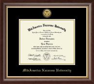 MidAmerica Nazarene University Diploma Frame - Gold Engraved Medallion Diploma Frame in Hampshire