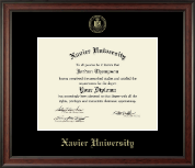 Xavier University Diploma Frame - Gold Embossed Diploma Frame in Studio