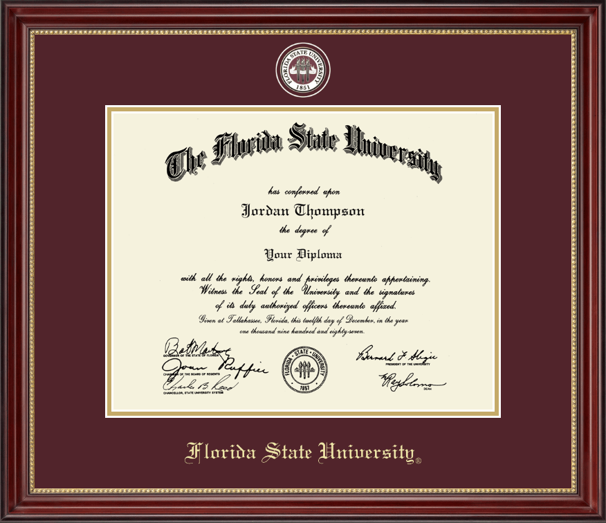 florida state university diploma frame masterpiece medallion diploma frame in kensington gold