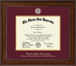 florida state university college of social sciences and public  florida state university diploma frame presidential masterpiece diploma frame in madison