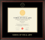 School of Visual Arts Diploma Frame - Gold Embossed Diploma Frame in Studio
