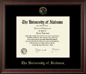 The University of Alabama Tuscaloosa Diploma Frame - Gold Embossed Diploma Frame in Studio