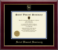 Saint Vincent Seminary Diploma Frame - Gold Embossed Diploma Frame in Gallery