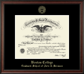 Boston College Diploma Frame - Gold Embossed Diploma Frame in Studio