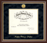 Alpha Omega Alpha Honor Society Certificate Frame - Deluxe Suede Medallion Frame in Hampshire