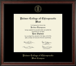Palmer College of Chiropractic West Campus Diploma Frame - Gold Embossed Diploma Frame in Studio