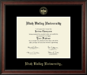 Utah Valley University Diploma Frame - Gold Embossed Diploma Frame in Studio