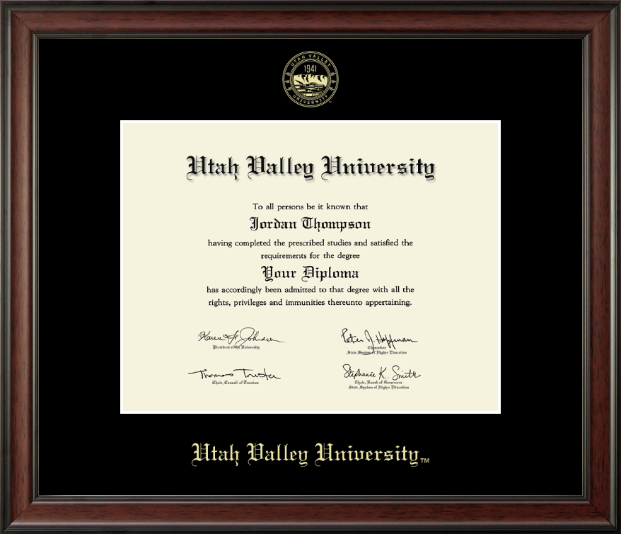 Utah Valley University Gold Embossed Diploma Frame In Studio