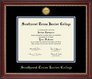 Southwest Texas Junior College Diploma Frame - Gold Engraved Medallion Diploma Frame in Kensington Gold