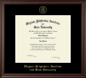 Virginia Tech Diploma Frame - Gold Embossed Diploma Frame in Studio