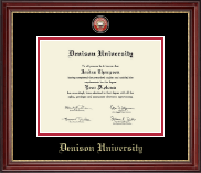Denison University  Diploma Frame - Masterpiece Medallion Diploma Frame in Kensington Gold