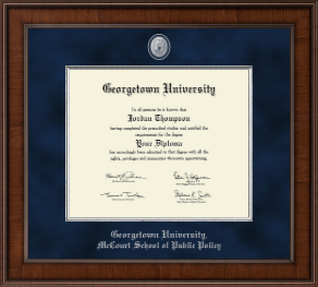 georgetown university mccourt school of public policy diploma  georgetown university diploma frame presidential pewter masterpiece diploma frame in madison