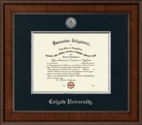 Colgate University Diploma Frame - Presidential Silver Engraved Diploma Frame in Madison