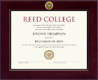 Reed College Diploma Frame - Century Gold Engraved Diploma Frame in Cordova