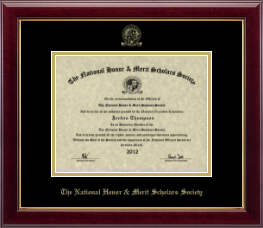 National Honor & Merit Scholars Society Certificate Frame - Gold Embossed Certificate Frame in Gallery