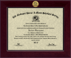 National Honor & Merit Scholars Society Certificate Frame - Century Gold Engraved Certificate Frame in Cordova