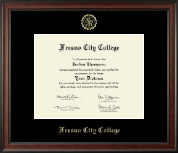 Fresno City College Diploma Frame - Gold Embossed Diploma Frame in Studio