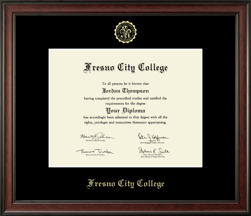 Fresno City College Gold Embossed Diploma Frame In Studio