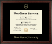 West Chester University Diploma Frame - Gold Embossed Diploma Frame in Studio