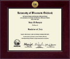University of Wisconsin Oshkosh Diploma Frame - Century Gold Engraved Diploma Frame in Cordova