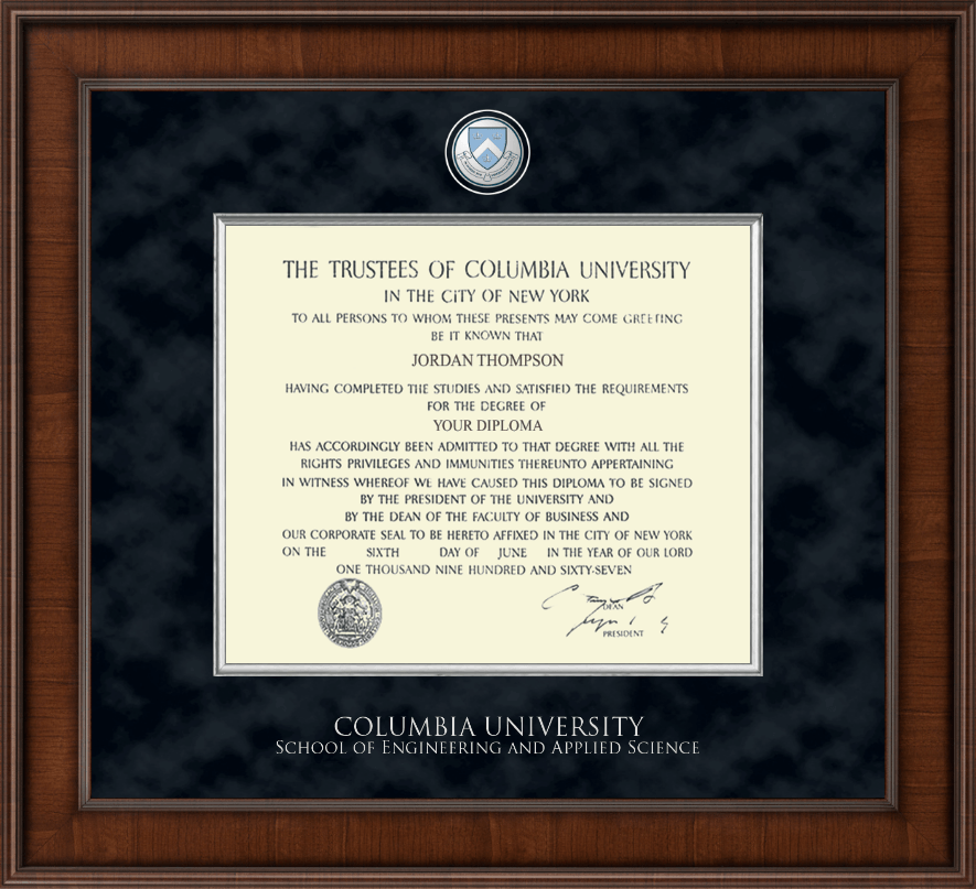 Columbia University Presidential Masterpiece Diploma Frame